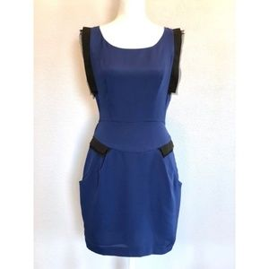 BCBG blue mini dress with pockets